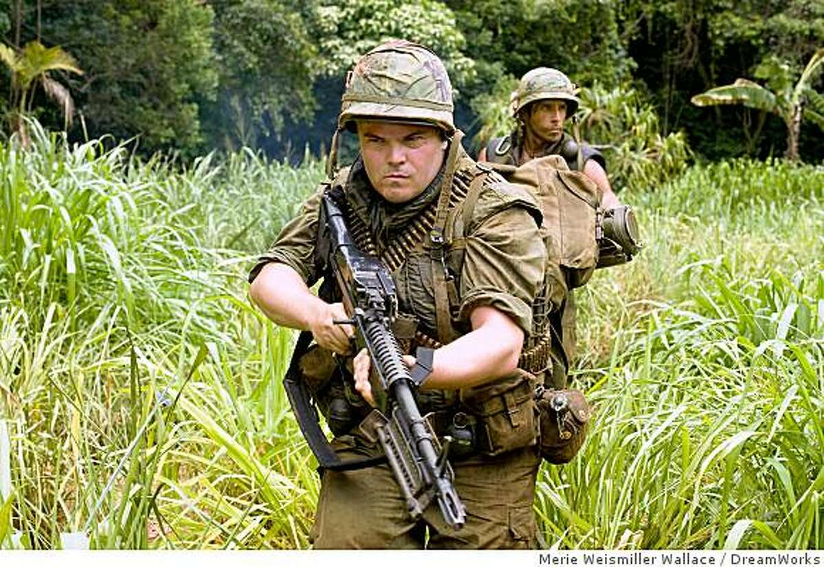 Jeff Portnoy (Jack Black, left) and Tugg Speedman (Ben Stiller, right) are two of the stars of a war movie who get caught up in a real battle in the action comedy ?Tropic Thunder.?
