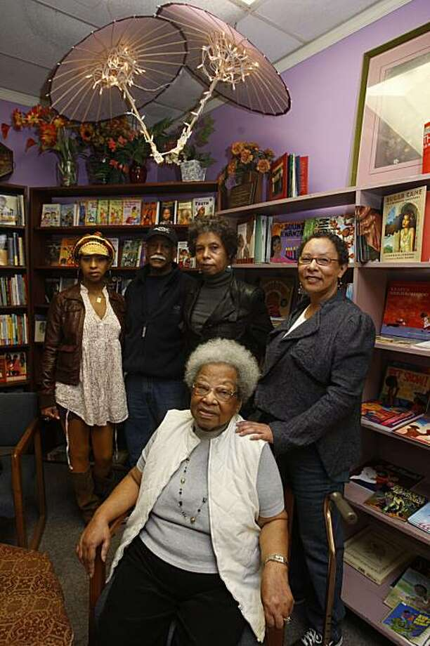 Dr. Raye Richardson (front), founder of Marcus Books, Blanche Richardson (right), Karen Johnson (behind Raye),Tamiko Johnson (far left),  and Gregory Johnson at Marcus Books in San Francisco, Ca., on Monday, January 13, 2010. Photo: Liz Hafalia, The Chronicle