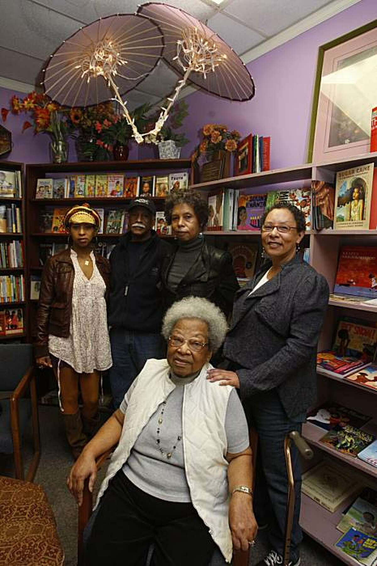 Dr. Raye Richardson (front), founder of Marcus Books, Blanche Richardson (right), Karen Johnson (behind Raye),Tamiko Johnson (far left), and Gregory Johnson at Marcus Books in San Francisco, Ca., on Monday, January 13, 2010.