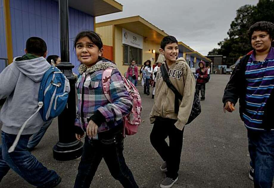 4th and 5th graders at Achieve Academy in Oakland, Calif, on Thursday February 04, 2010, heading for home following a day at school. A new study indicates charter schools are more segregated than are regular public schools, at Achieve Academy the campus is almost 100 percent Hispanic, but represents the community around it. Photo: Michael Macor, The Chronicle
