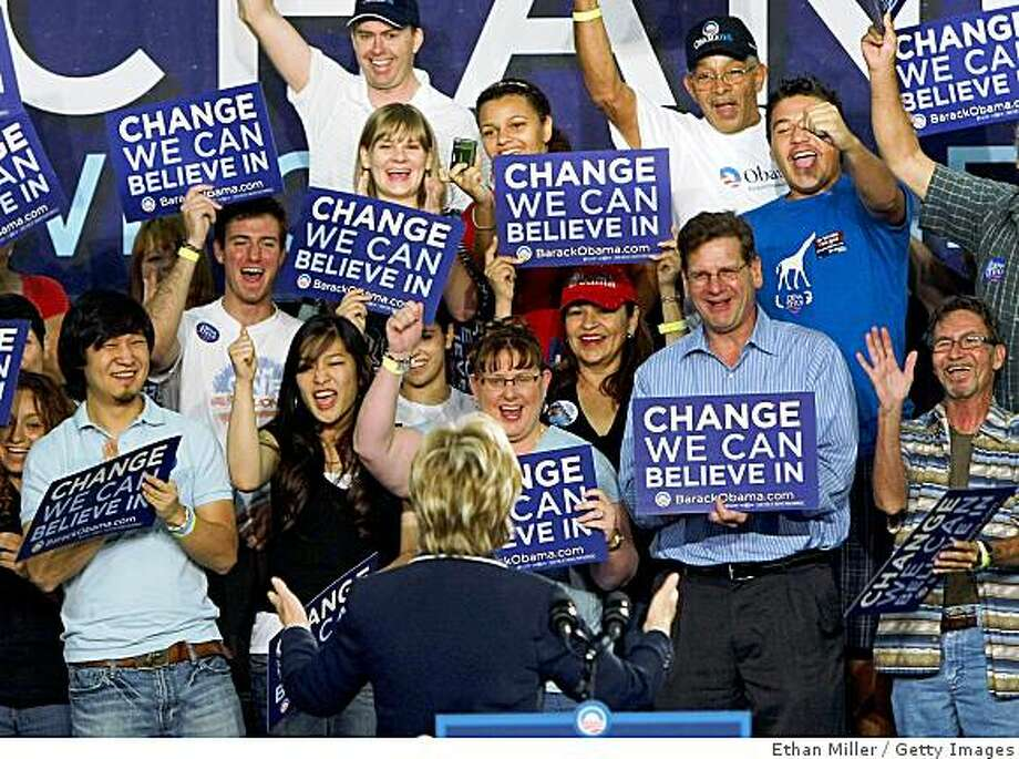 HENDERSON, NV - AUGUST 08:  Supporters greet U.S. Sen. Hillary Clinton (D-NY) as she campaigns for presumptive Democratic presidential nominee U.S. Sen. Barack Obama (D-IL) at Green Valley High School August 8, 2008 in Henderson, Nevada. This is Clinton's first solo campaign appearance for Obama.  (Photo by Ethan Miller/Getty Images) Photo: Ethan Miller, Getty Images