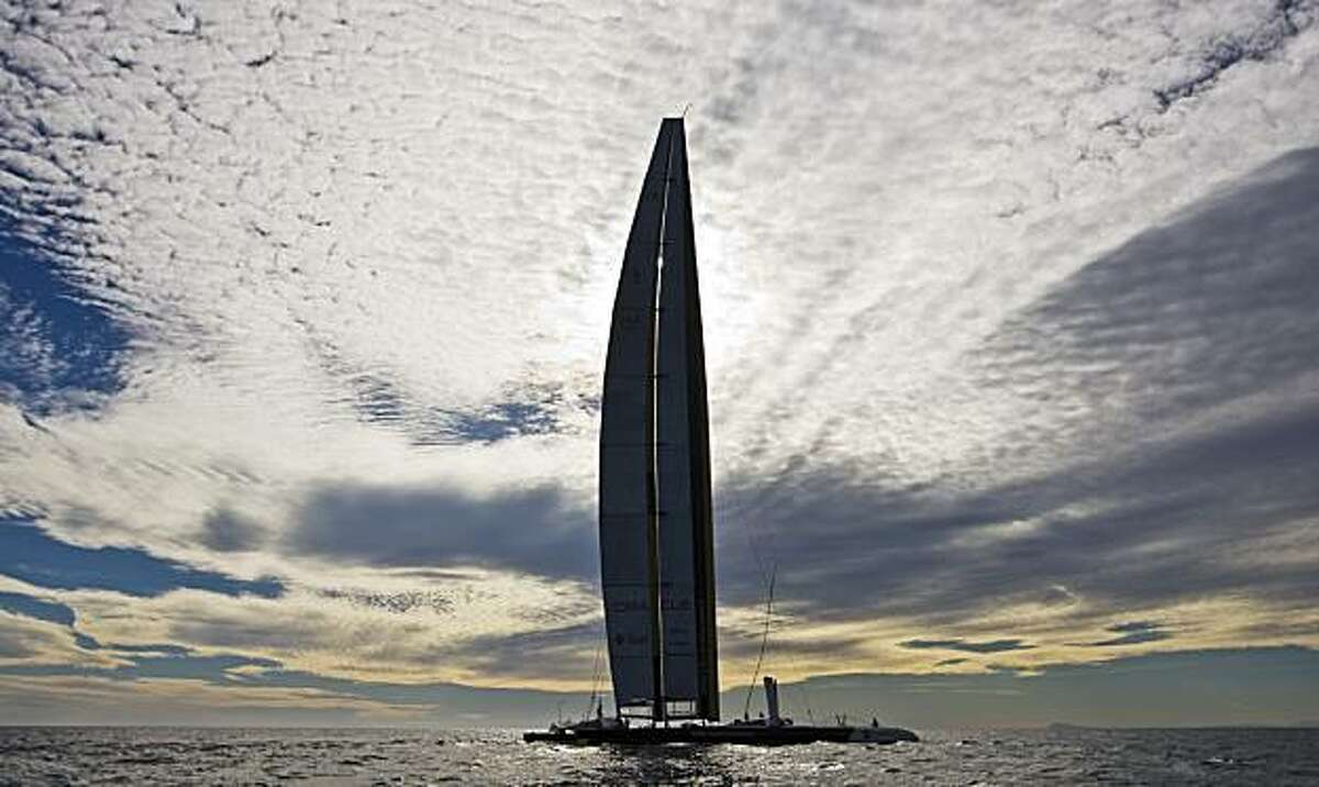 BMW Oracle's BOR 90 sails near Valencia, Spain, on Sunday, Feb. 7, 2010. The 33rd America's Cup is scheduled to start Feb. 8.