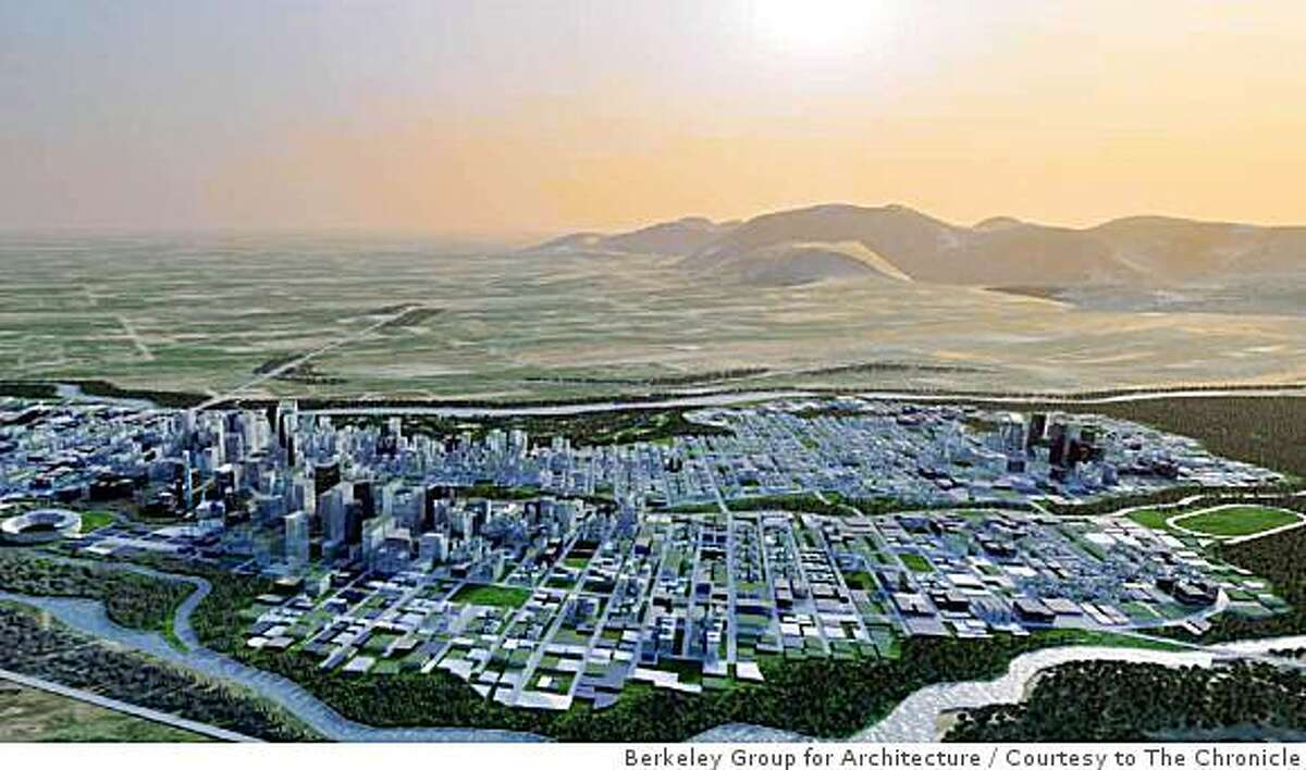Perspective of the entire 11,000 acre masterplan. The site lies between two seasonal rivers amidst the foothills of the Himalayas. Rendering Courtesy of Berkeley Group for Architecture & Planning