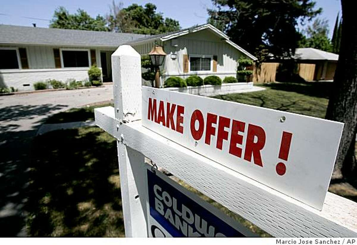 A home is advertised for sale in Stockton in May 2008.