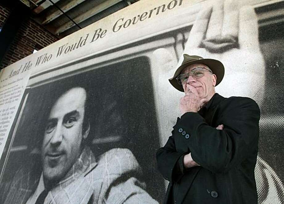 Lowell Darling stands next to a giant portrait of himself as it appeared in the Washington Post over thirty years ago when challenged sitting Governor Jerry Brown for his office. Once again, Brown is in the race for Governor and once again Lowell Darling is back hoping to shake up the norm with a fresh platform and campaign. Friday Feb. 5, 2010. Photo: Lance Iversen, The Chronicle