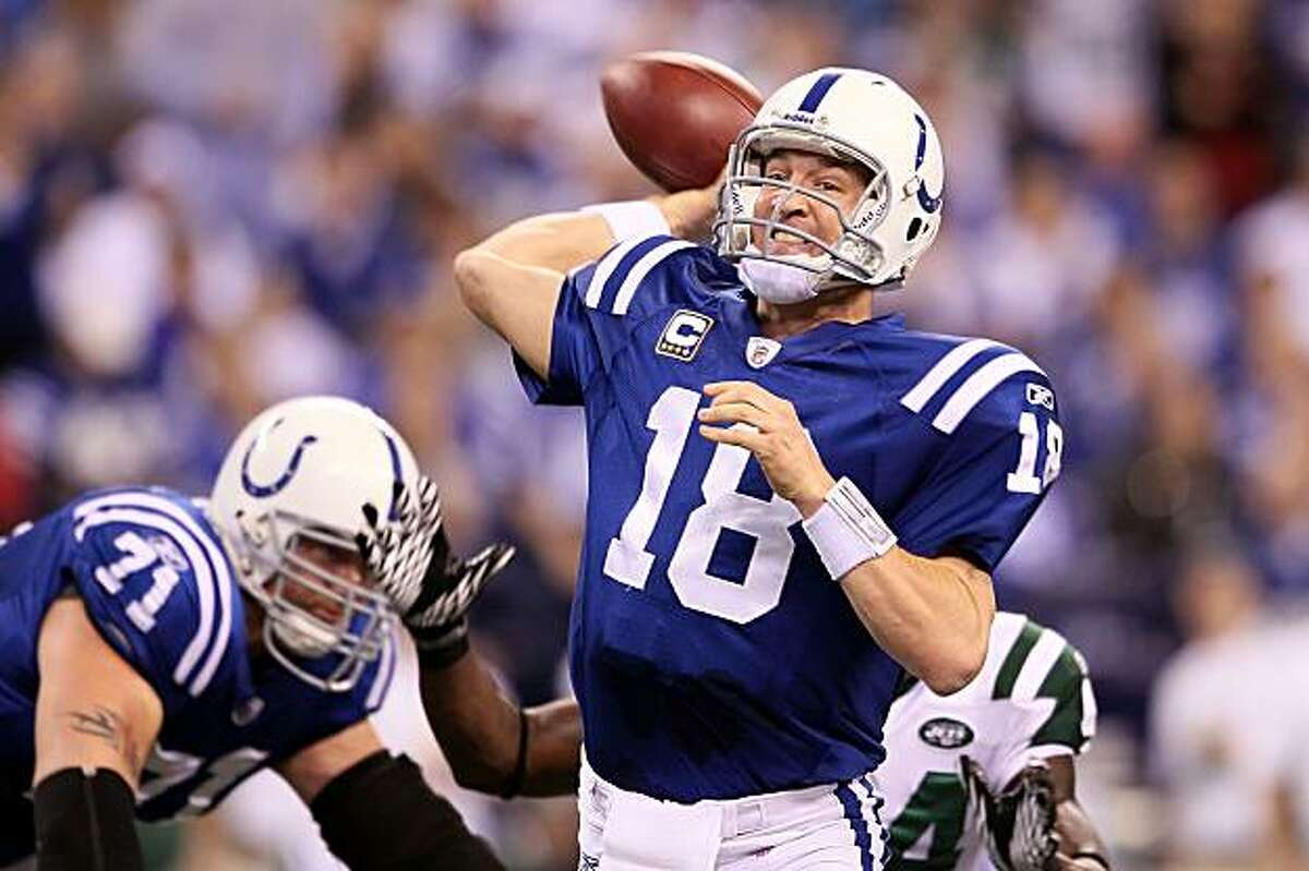 INDIANAPOLIS - JANUARY 24: (FILE PHOTO) Quarterback Peyton Manning #18 of the Indianapolis Colts passes the ball in the first half against the New York Jets during the AFC Championship Game at Lucas Oil Stadium on January 24, 2010 in Indianapolis, Indiana. Manning and the Colts will take on the New Orleans Saints in Super Bowl XLIV on February 7, 2010 in Miami Gardens, Florida.
