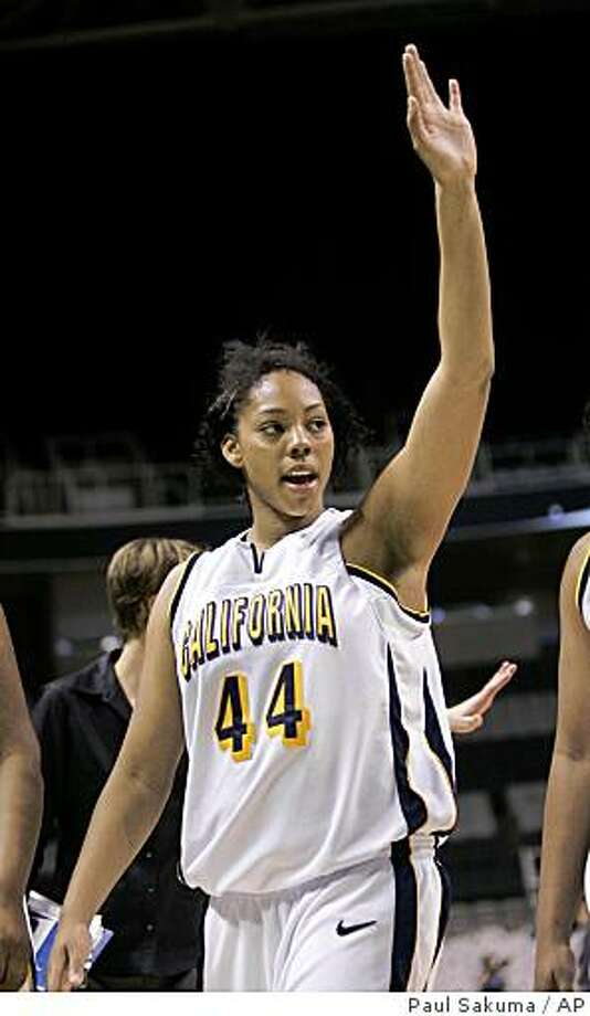 California forward Ashley Walker (44) waves after Cal defeated Oregon 67-60 during a women's Pac-10 basketball tournament game in San Jose, Calif., Saturday, March 8, 2008. Walker was the co-top scorer for Cal with 15 points. (AP Photo/Paul Sakuma) Photo: Paul Sakuma, AP