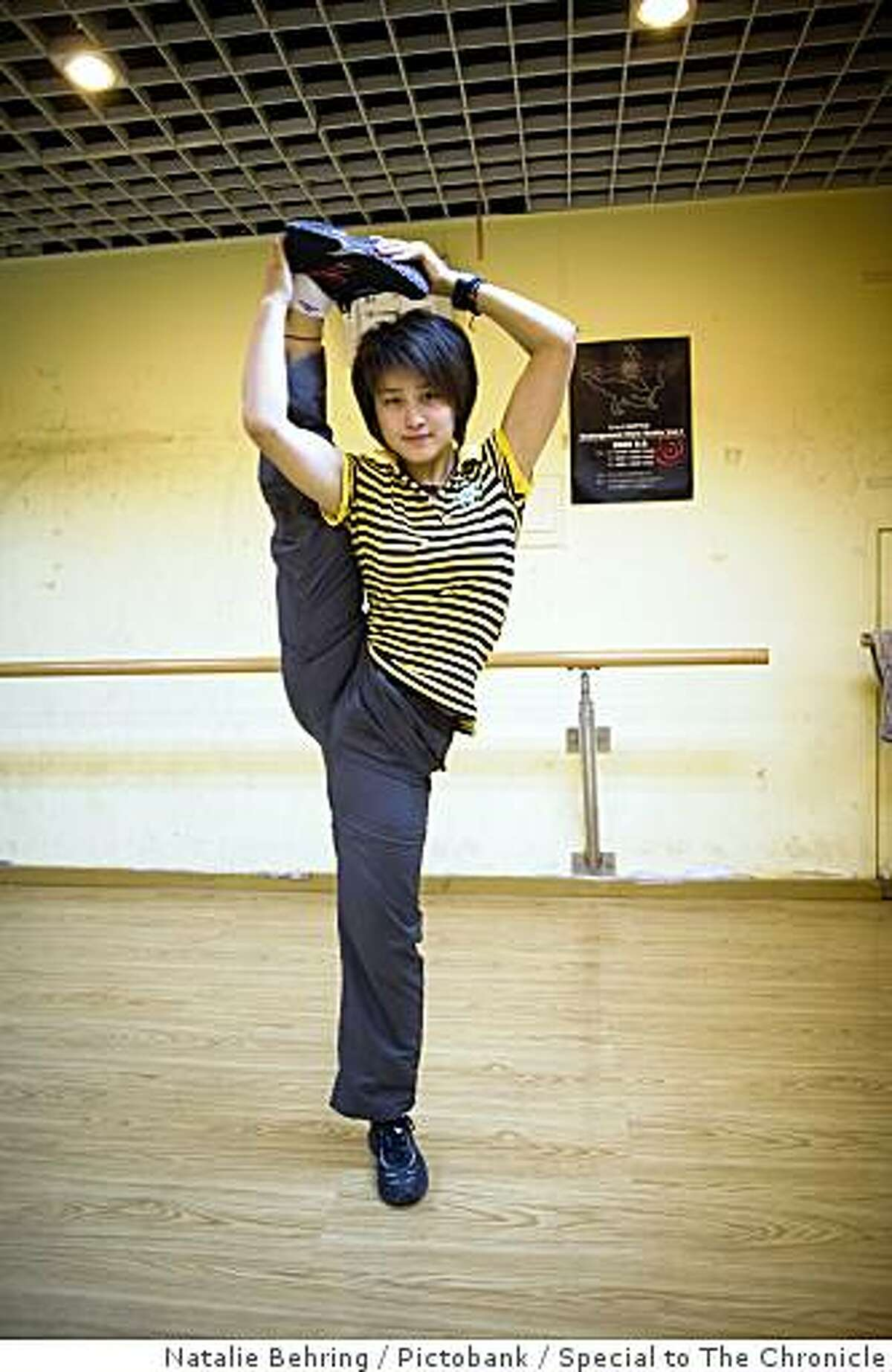 Chinese blogger Maoer baby demonstrated her Wushu (kungfu) ability in Beijing. Photo by Natalie Behring / Pictobank / Special to The Chronicle