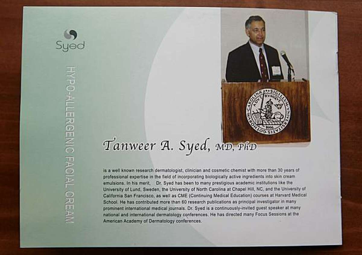 Brochure of Tanweer Syed, charged for posing as a doctor. Hall Of Justice, San Francisco, Calif. Wednesday, February 3, 2010