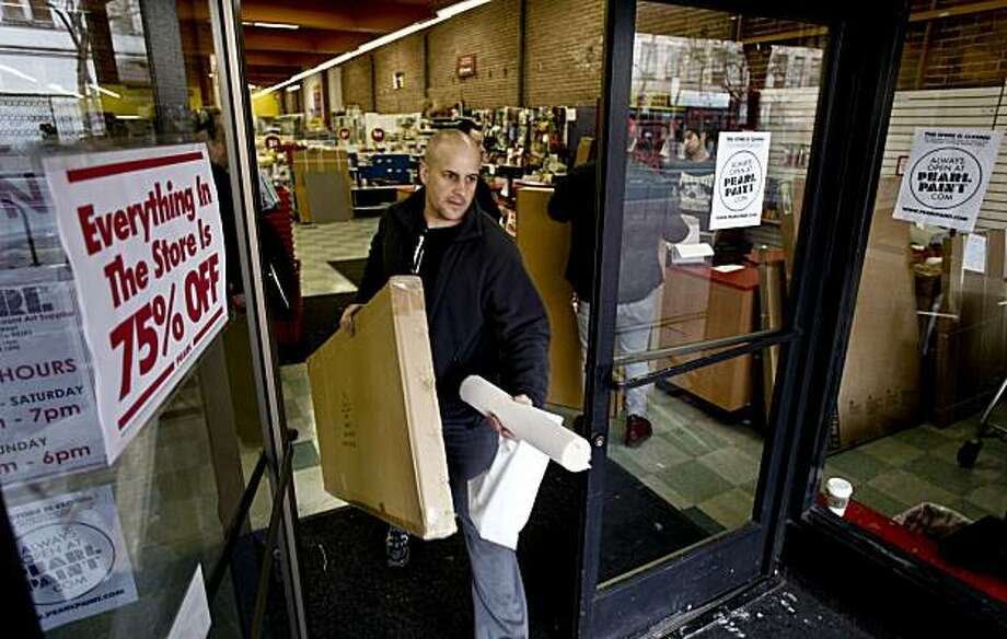 Tom Pierson, of San Francisco, picked up an art easel at 75% off, on Saturday January 30, 2010. The discount art supplier, Pearl is shutting down it's Market Street store in San Francisco,Calif., as well as many others across the country. Photo: Michael Macor, The Chronicle