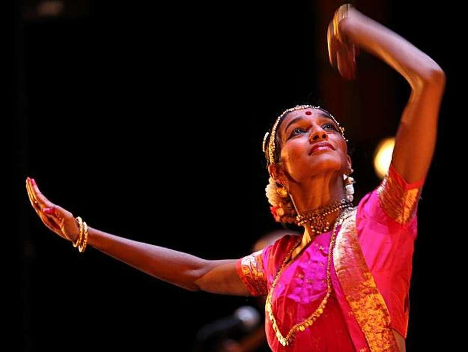 Shantala Shivalingappa, a classical Indian Kuchipudi dancer performing at Herbst Theater in San Francisco, Ca., on Thursday, February 4, 2010. Photo: Liz Hafalia, The Chronicle