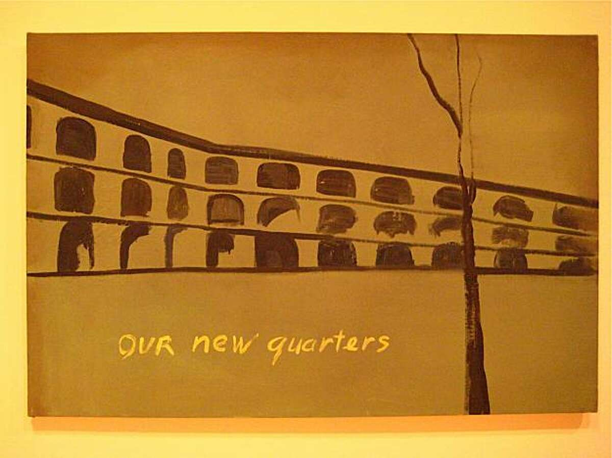 Tuymans' Our New Quarters, 1986, is based on Thierenstadt, a 'model' camp in Czechoslovakia set up by the Nazis as a decoy to obfuscate their true intentions at other camps.