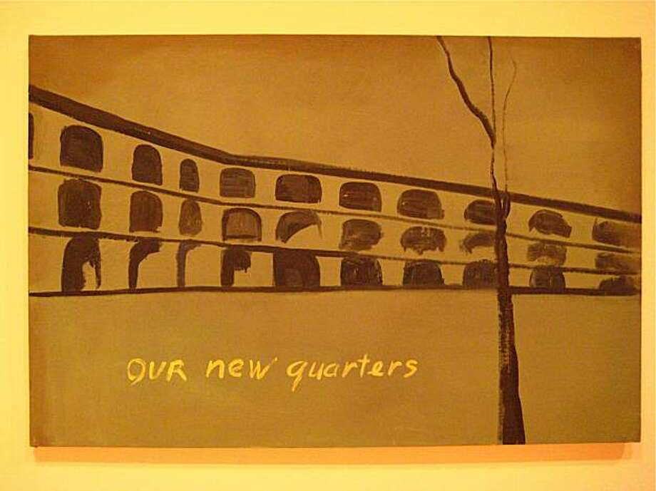 Tuymans' Our New Quarters, 1986, is based on Thierenstadt, a 'model' camp in Czechoslovakia set up by the Nazis as a decoy to obfuscate their true intentions at other camps. Photo: Catherine Bigelow, Special To The Chronicle