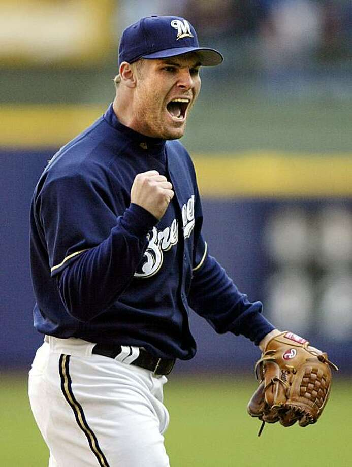 Milwaukee Brewers pitcher Ben Sheets celebrates as he comes off the mound after striking out Atlanta Braves batter Johnny Estrada for his 18th strikeout at Miller Park in Milwaukee, Wisconsin May 16, 2004.   Sheets pitched a complete game three-hitter, as the Brewers defeated the Braves 4-1.           REUTERS/Allen Fredrickson  ProductName	Chronicle   Ben Sheets has reason to be excited after striking out Atlanta's Johnny Estrada, completing a 3-hitter.      Ran on: 01-26-2010 Ben Sheets missed last season following surgery. Photo: Allen Fredrickson, REUTERS