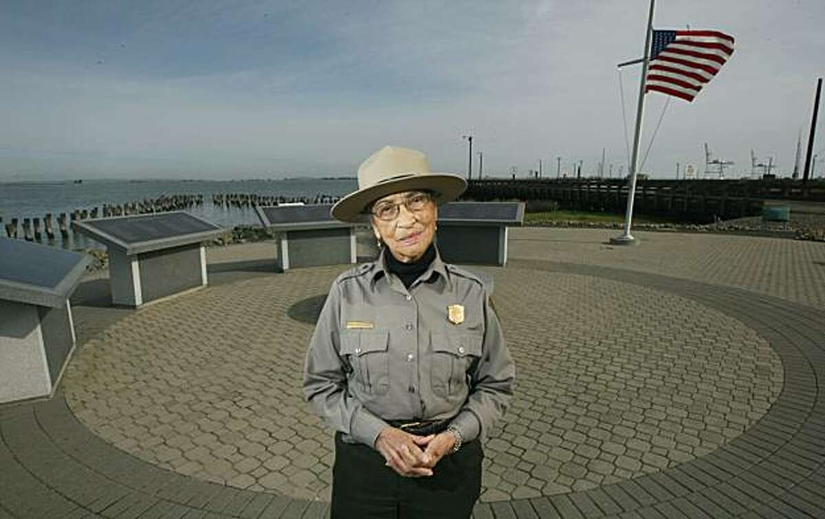 National Park Service Ranger Betty Reid Soskin remembers the fateful day 65 years ago when munitions blew up at Port Chicago in Concord killing 320 people. Soskin visits the Port Chicago Naval Magazine Memorial now located inside The Military Ocean Terminal Concord Army base in Concord. Nov 10, 2009.