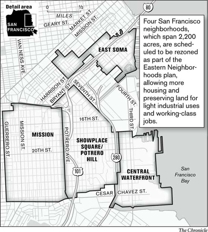 Eastern Neighborhoods plan. Chronicle Graphic