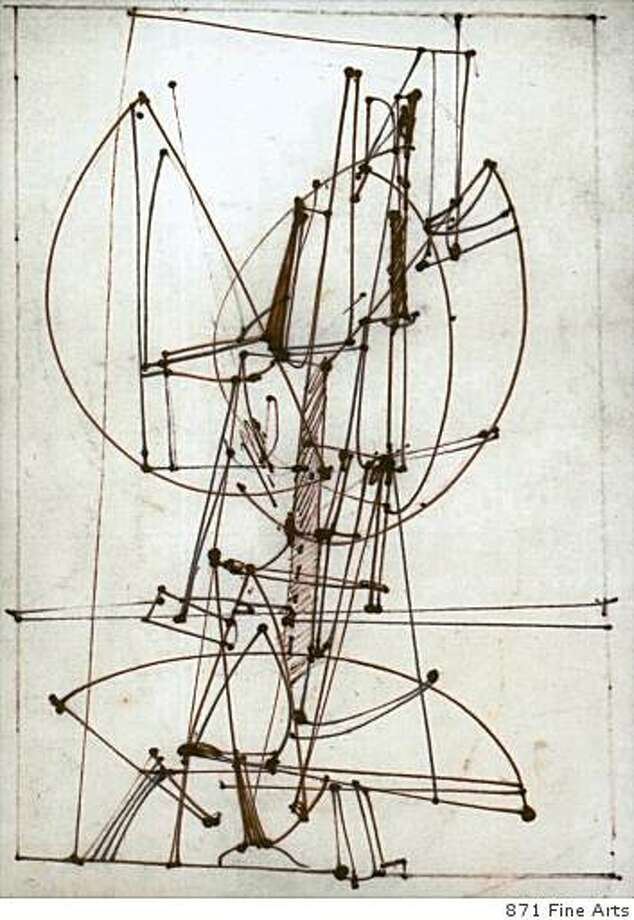 """Ink #11"" (c. 1956) ink on paper by Edward Corbett Photo: 871 Fine Arts, 871 Fine Arts, San Francisco"