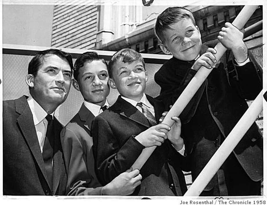Actor Gregory Peck and his sons Jonathan, 14; Stephen, 12; and Carey, 9; in August 1958 Photo: Joe Rosenthal, The Chronicle 1958