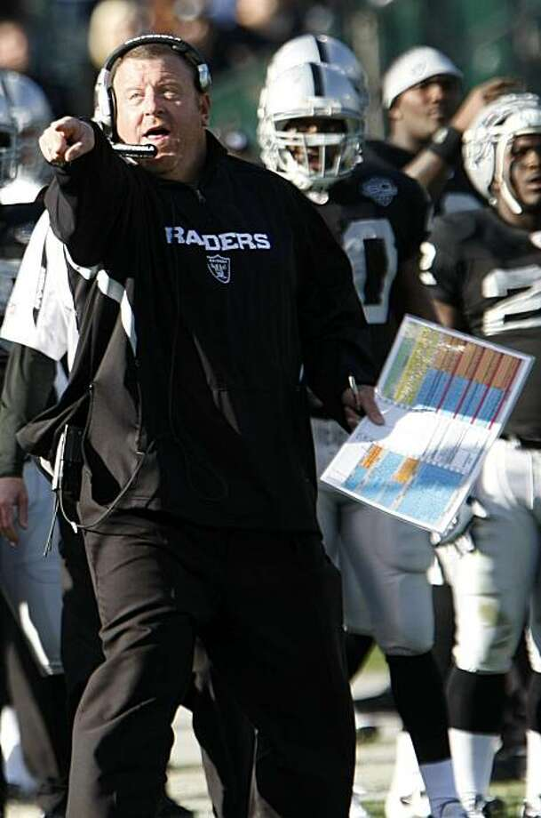 Oakland Raiders coach Tom Cable points on the sidelines before challenging an official's call in the second quarter against the Baltimore Ravens in Oakland on Sunday. Photo: Paul Sakuma, AP