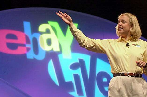 EBAY-C-22JUN02-BU-BB Meg Whitman, president and chief executive officer,  eBay Inc., delivers a keynote speech during the first annual eBay Live 2002 Community Conference in Anaheim, California, Saturday, June 22, 2002. Photographer: Susan Goldman/ Bloomberg News. Photo: Susan Goldman, Bloomberg News