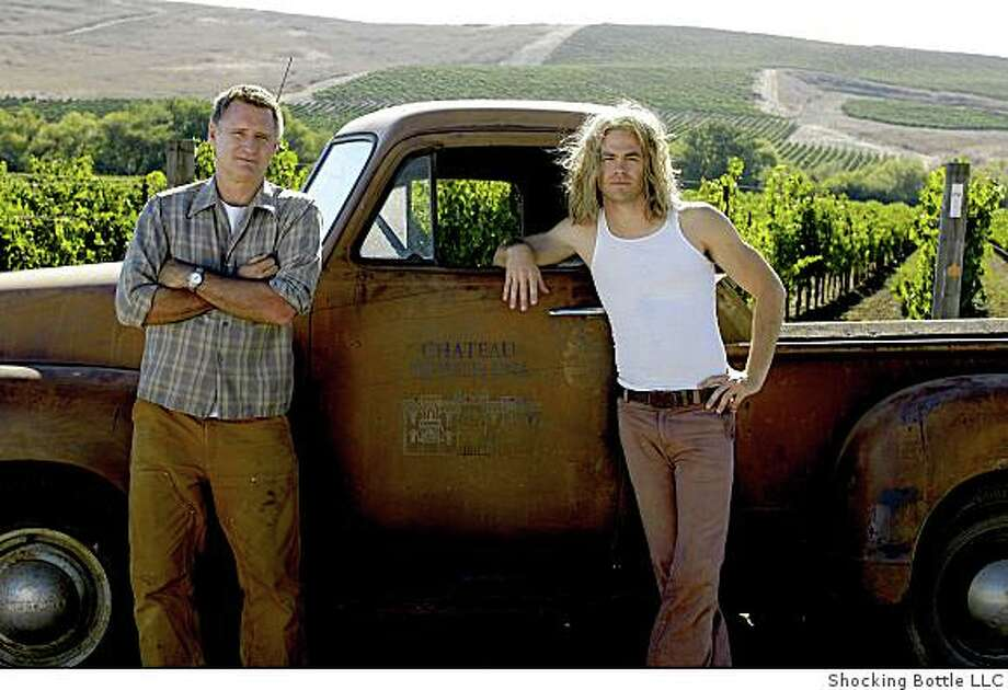 Caption: Bill Pullman and Chris Pine in a Napa Valley Vineyard. The two actors star in the movie Bottle Shock. Photo: Shocking Bottle LLC