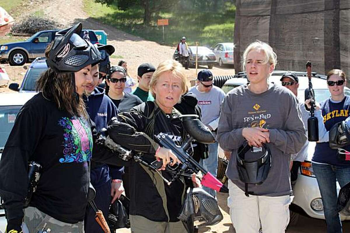 """Democrat Susan Kennedy, whom Republicans have called the """"lesbian, cigar-smoking ballsy blonde"""" chief of staff to Gov. Arnold Schwarzenegger, shown recently engaged in a staff session of """"paintballing"""" -- where she tore her ligament and stubbornly kept plDemocrat Susan Kennedy, whom Republicans have called the """"lesbian, cigar-smoking ballsy blonde"""" chief of staff to Gov. Arnold Schwarzenegger, shown recently engaged in a staff session of """"paintballing"""" -- where she tore her ligament and stubbornly kept playing to win."""