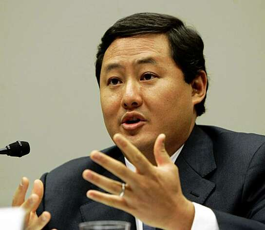 File - In this June 26, 2008 file photo John Yoo, a law professor at the University of California at Berkeley, testifies on Capitol Hill in Washington. Justice Department officials have stopped short of recommending criminal charges against Bush administration lawyers who wrote secret memos approving harsh interrogation techniques of terror suspects. (AP Photo/Susan Walsh, File) Photo: Susan Walsh, AP