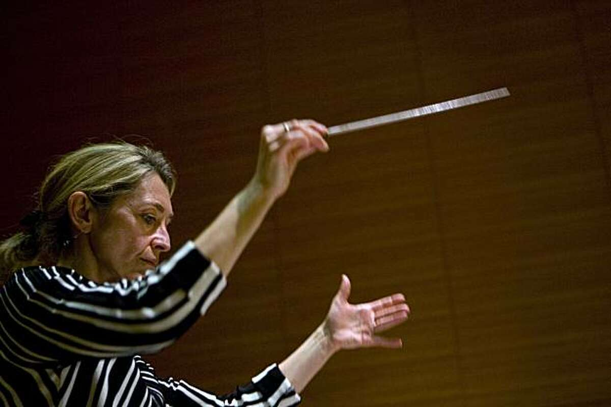 Conductor Nicole Paiement directs a stage rehearsal of Berg's opera, Wozzeck, at the San Francisco Conservatory of Music in San Francisco, Calif. on Friday, Jan. 15, 2010.