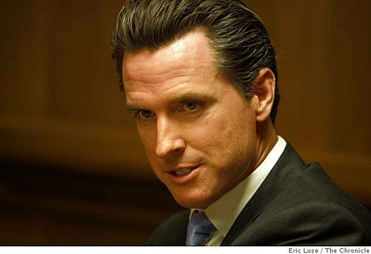 Mayor Gavin Newsom at the San Francisco Chronicle Editorial meeting discussing the budget photographed on Monday, June 01, 2009.
