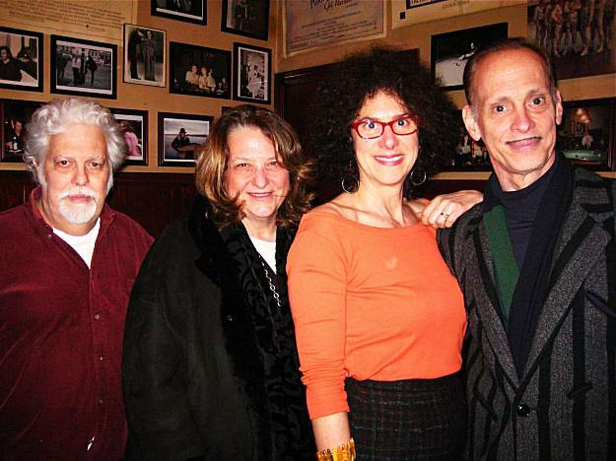 Cartoonist Spain Rodriguez (left) with filmmakers Lynn Hershman, Susan Stern and John Waters at Tosca Cafe_Janurary 2010