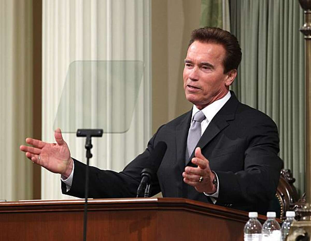 Gov. Arnold Schwarzenegger addresses a joint session of the state Legislature as he gives his final State of the State address at the Capitol in Sacramento.