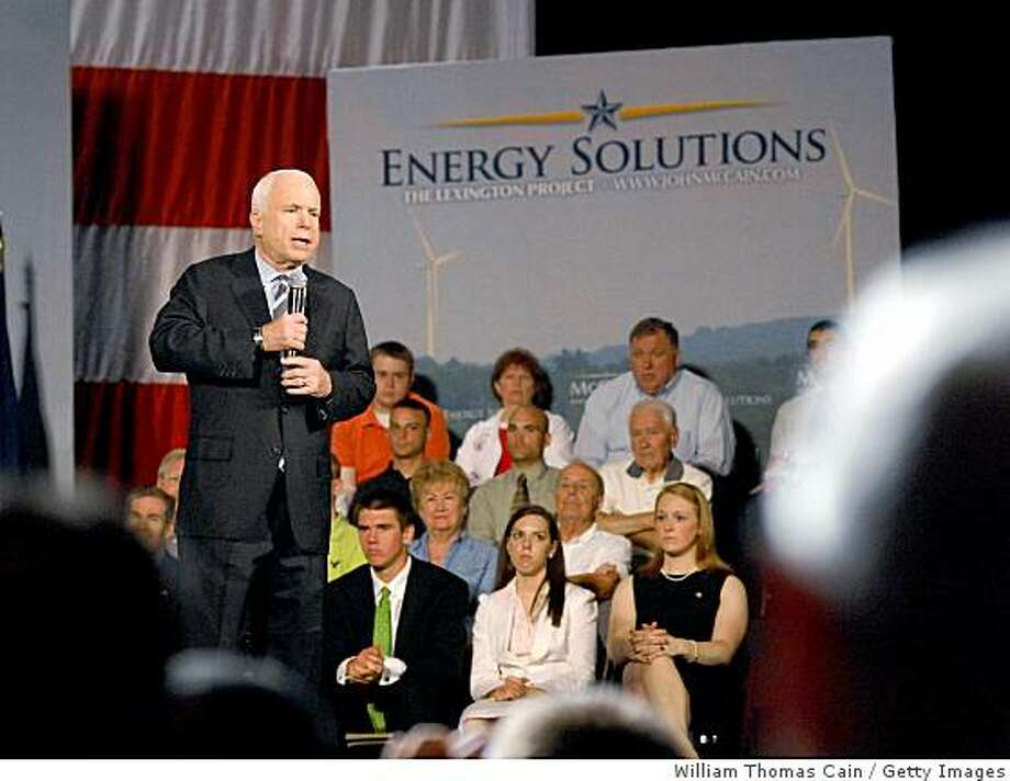 WILKES-BARRE, PA - JULY 23:  Republican presidential candidate U.S. Sen. John McCain (R-AZ) speaks at a town hall meeting while on the campaign trail in the F.M. Kirby Center for the Performing Arts July 23, 2008 in Wilkes-Barre, Pennsylvania. McCain has not yet announced his Vice-Presidential running mate.  (Photo by William Thomas Cain/Getty Images) Photo: William Thomas Cain, Getty Images