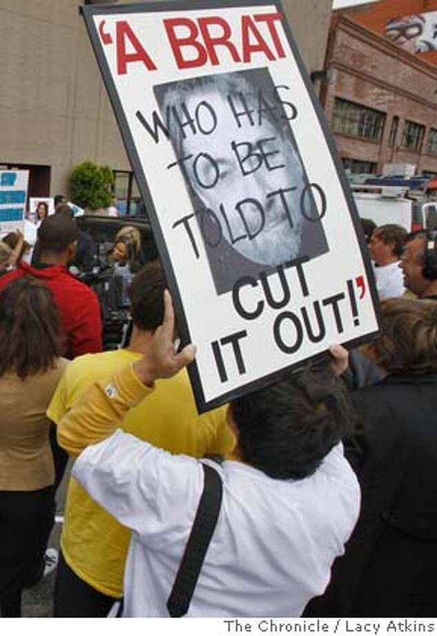 A crowd of about 100 angry parents with their autistic children protest outside the KNEW radio station, demanding the firing of Michael Savage for his remarks about autism, Sunday July 27, 2008, in San Francisco, Calif. Photo by Lacy Atkins /The Chronicle Photo: Lacy Atkins, The Chronicle