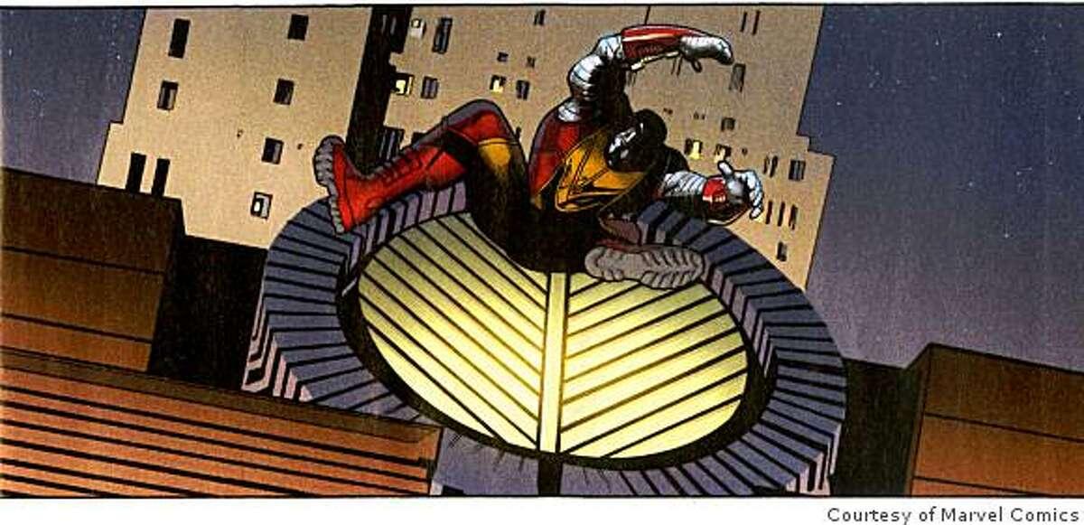 X-Men Colossus falls thru a skylight of SFMOMA.