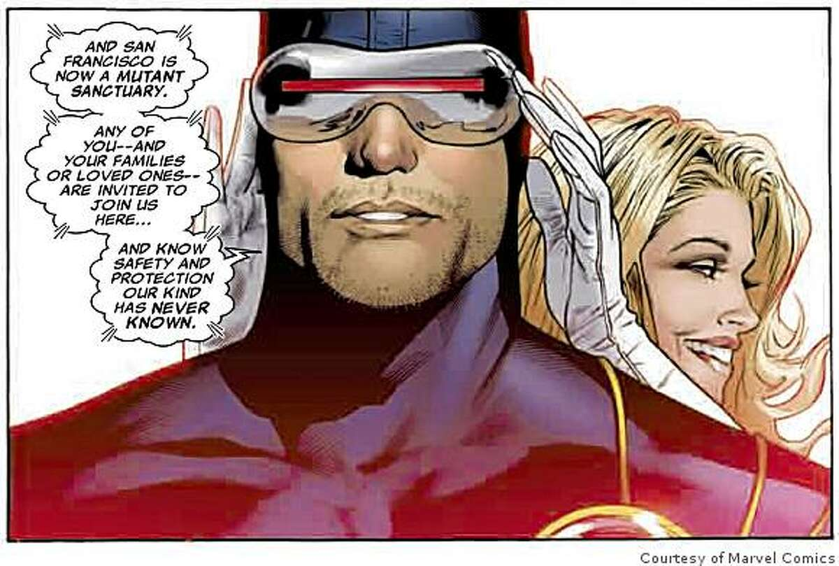 X-Men leader Cyclops and his telepathic girlfriend Emma Frost talk to the mutants of the world.