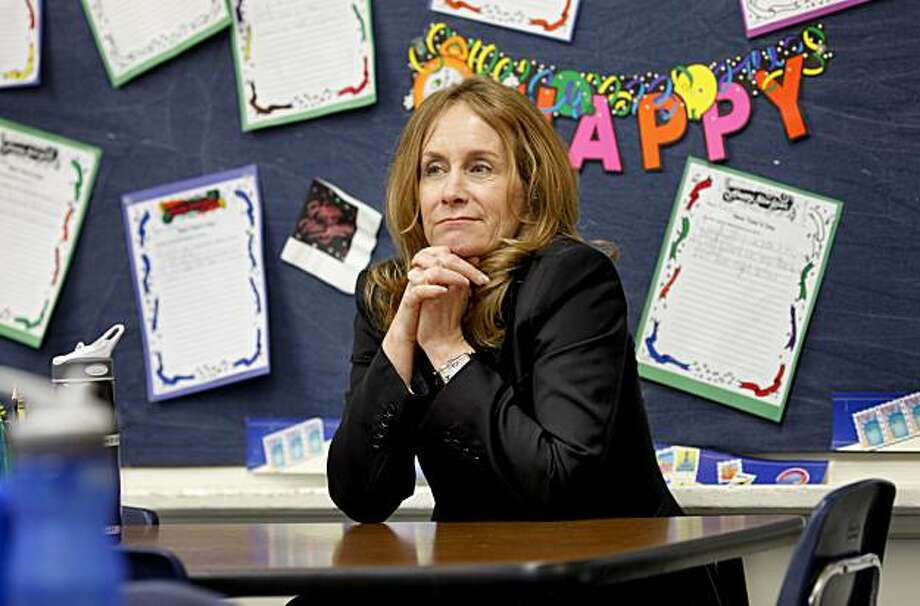 "Abeles sits in a chair in an elementary classroom at Marin Primary School.  She recalls her own young sons pressures in the film. Vicki Abeles is a corporate lawyer turned filmmaker who has made a film called ""Race to Nowhere"" about the pressures kids of all ages face to succeed and go to college. She recently showed the film  at the Marin Primary School to educators Tuesday January 19, 2010. Photo: Brant Ward, The Chronicle"