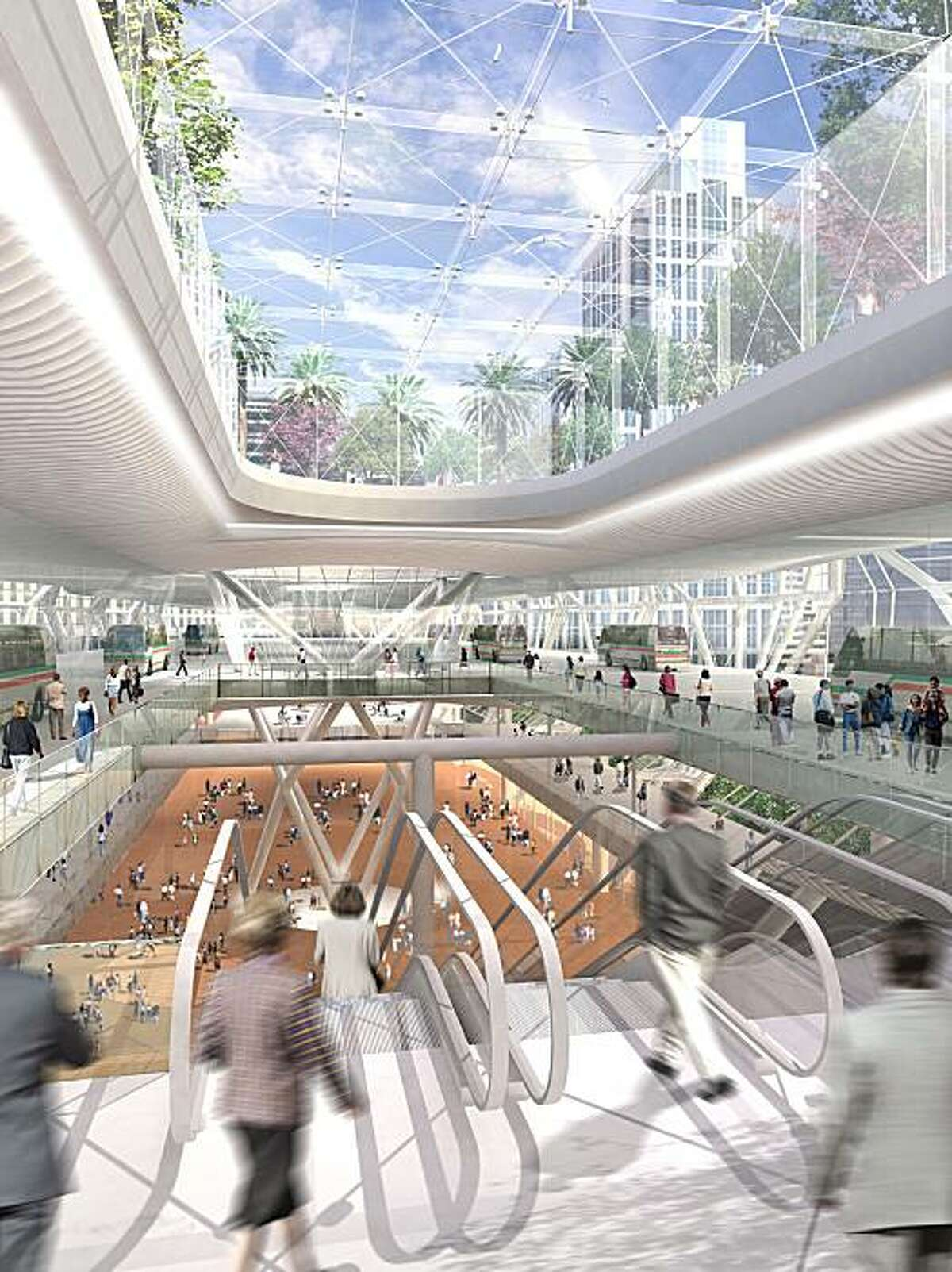 This is a proposed design concept for the Transbay Terminal. Bus level interior. Courtesy, Transbay Joint Powers Authority and Pelli Clarke Pelli Architects and WRNS Studio and Hines.