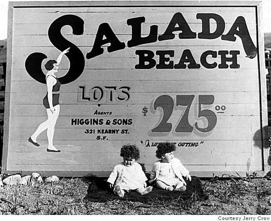 Billboard touting lots at Salada Beach (which became Sharps Park) in the early 1900s. San Francisco developers started the Ocean Shore Railroad, which operated from 1905 to 1920, and also created the Ocean Shore Land Company to sell real estate to those entranced by the environment. Photo: Courtesy Jerry Crow