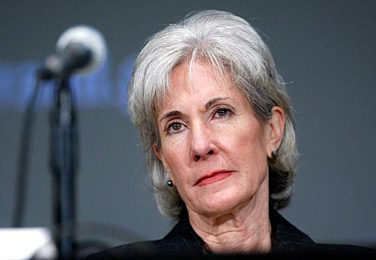 """BETHESDA, MD - JANUARY 28: U.S. Secretary of Health and Human Services Kathleen Sebelius listens during a """"National Summit on Health Care Fraud"""" at the National Institutes of Health (NIH) January 28, 2010 in Bethesda, Maryland. The summit was to discussways to eliminate fraud, waste and abuse in the US health care system."""