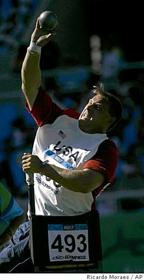 U.S. Scott Winkler, Iraq war veteran, competes during the men's shot put, category F53-55 at the Para Pan American Games, in Rio de Janeiro, Thursday, Aug 16, 2007.  (AP Photo/Ricardo Moraes) Photo: Ricardo Moraes, AP