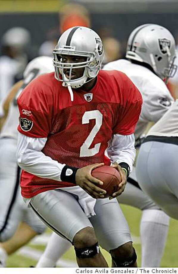 Raiders quarterback, JaMarcus Russell. 49ers and Raiders practice against each other at the Raiders Napa training camp on Monday, August 4, 2008. Photo: Carlos Avila Gonzalez, The Chronicle
