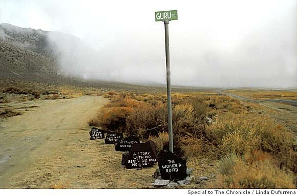 A zen-like version of the old Burma Shave signs along a road in the Black Rock desert.