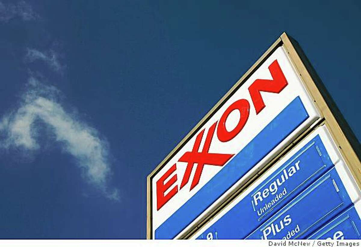 BURBANK, CA - FEBRUARY 01: (FILE PHOTO) An Exxon gas station sign stands February 1, 2008 in Burbank, California. Exxon Mobil reported July 31, 2008 that the oil company's second quarter earnings were $11.68 billion, the largest quarterly profits ever by any company in the U.S. (Photo by David McNew/Getty Images)