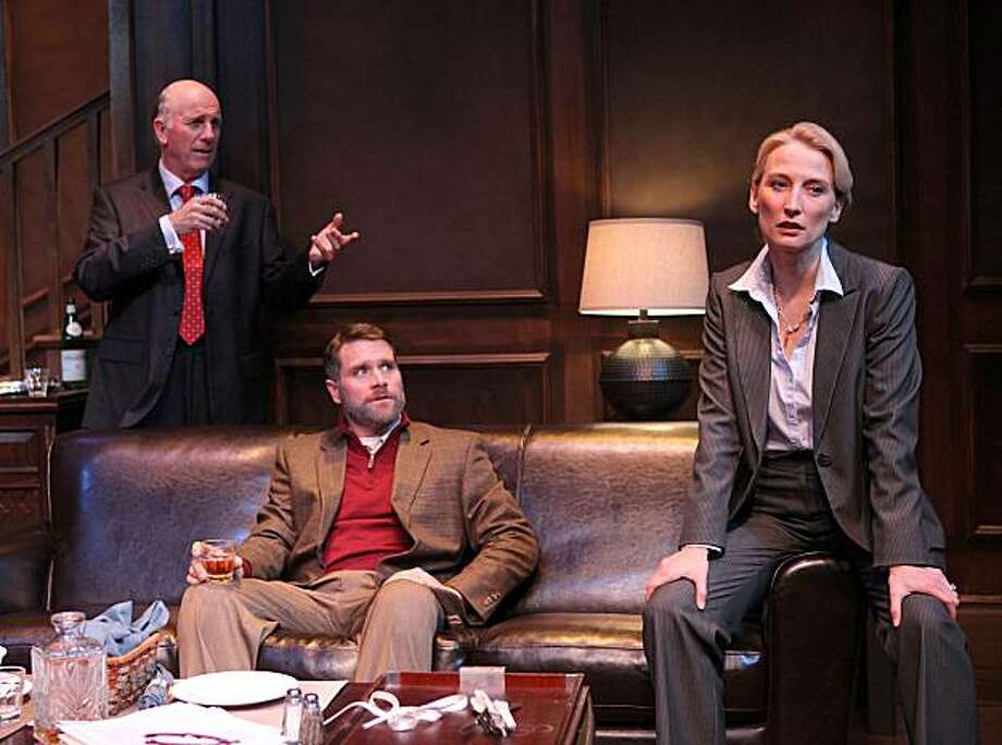 "Univeristy president Matthew (Charles Dean, left) is locked in battle with his son-in-law and law school dean Vincent (Kevin Rolston) in Sharr White's ""Sunlight."" Charlotte (Carrie Paff) is caught between her father and husband. Photo: Ed Smith"