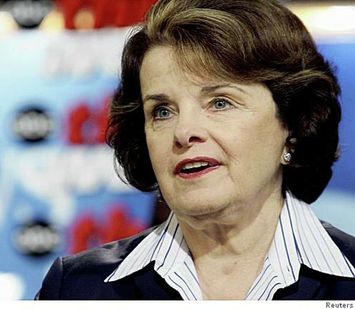 ".S. Senator Dianne Feinstein (D-CA), speaks about the California wildfires on ABC News' ""This Week"" in Washington, October 28, 2007. REUTERS/Lauren Victoria Burke/ABC NEWS//Handout"