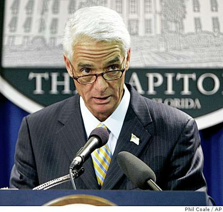 "Gov. Charlie Crist speaks at a news conference to call on the Democratic National Committee to seat their Florida delegates at the national convention, Wednesday, March 5, 2008, in Tallahassee, Fla. Charlie Crist and Michigan Gov. Jennifer M. Granholm released a joint statement Wednesday making the plea and saying the voices of 5 million voters should not be ""silenced."" (AP Photo/Phil Coale) Photo: Phil Coale, AP"