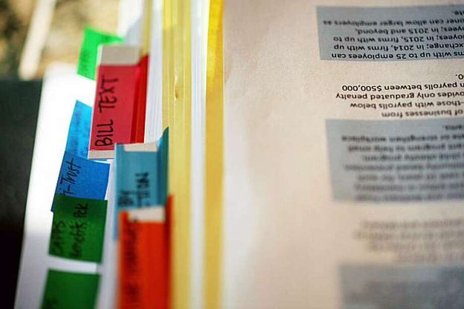 A copy of health care reform legislation at the home of Rep. Bart Stupak (D-Mich.) in Menominee, Mich., on Dec. 29, 2009. Stupak insists that the health care bill include restrictions on abortion coverage. (Sally Ryan/The New York Times) Photo: Sally Ryan, NYT
