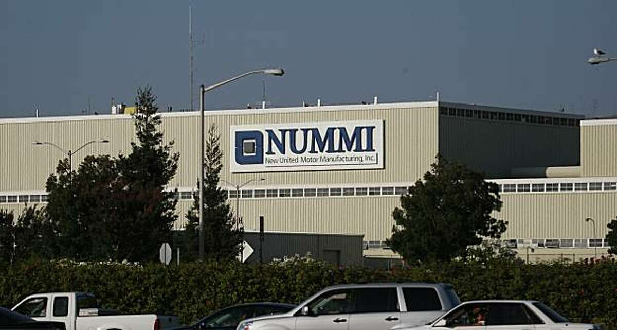 The Nummi sign on the plant in Fremont, Calif. looms above I-880 on Thursday, August 20, 2009.