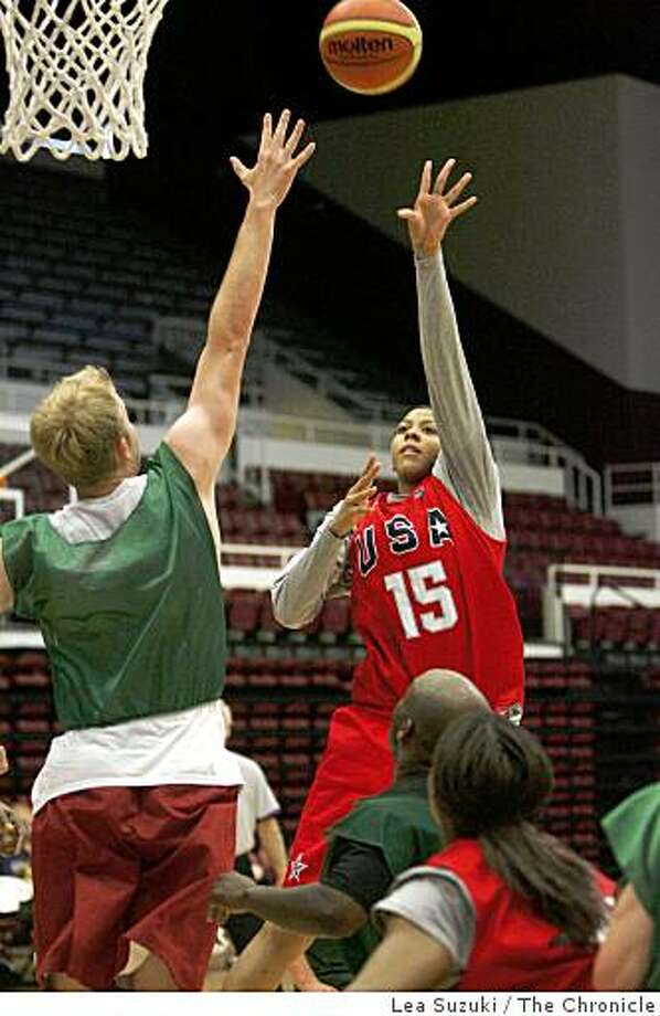 #15 Candace Parker (right) of the U.S. women's basketball team goes up for a basket covered by Dan Spinosa (left) of Stanford, Calif. at Maples Pavilion. Photo: Lea Suzuki, The Chronicle