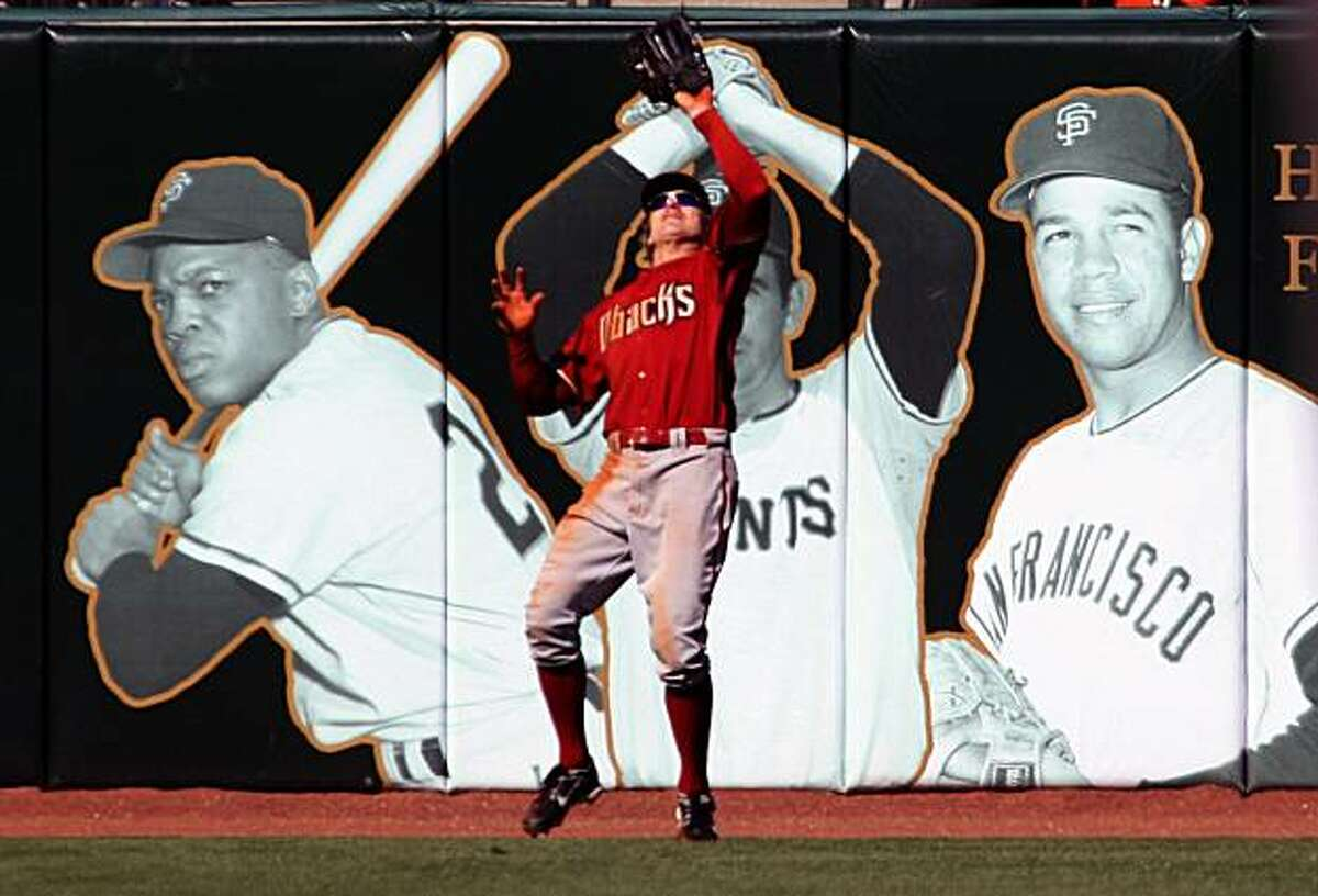 Arizona Diamondbacks left fielder Eric Byrnes catches the final out as the San Francisco Giants leave the bases loaded in the 9th inning. The Arizona Diamondbacks defeated the San Francisco, Tuesday April 15, 2008 Photo By Lance Iversen / San Francisco Chronicle